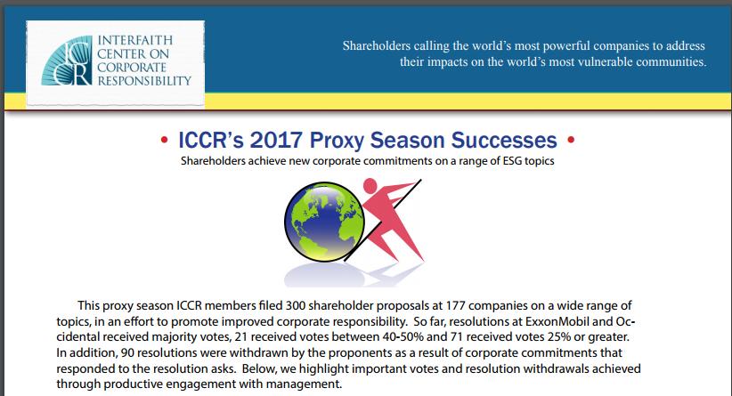 ICCR's 2017 Proxy SeasonSuccesses