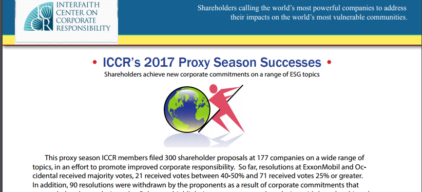 ICCR's 2017 Proxy Season Successes